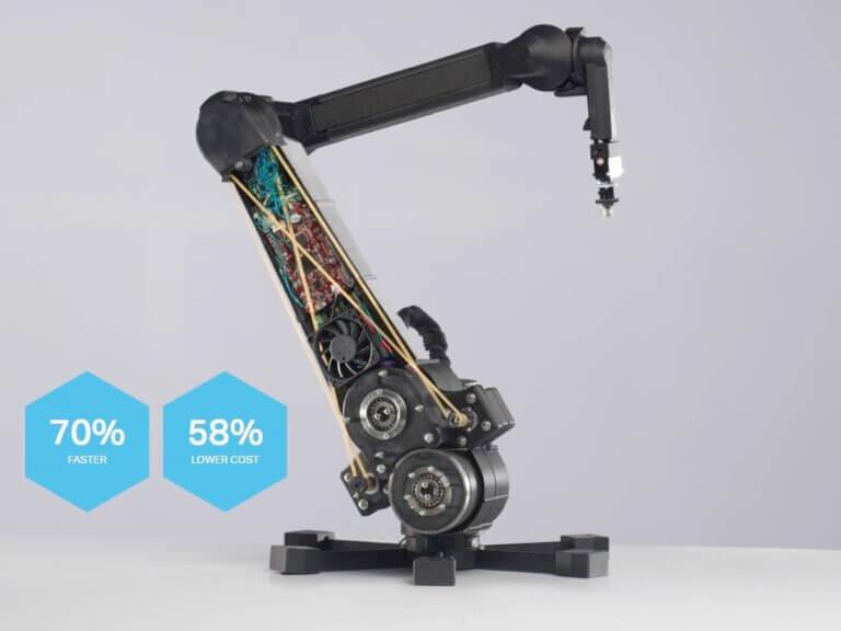 Sedemosové robotické rameno s3Dtlačenou konštrukciou